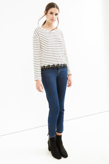 Jeans stretch skinny con zip, Lavaggio scuro, hi-res