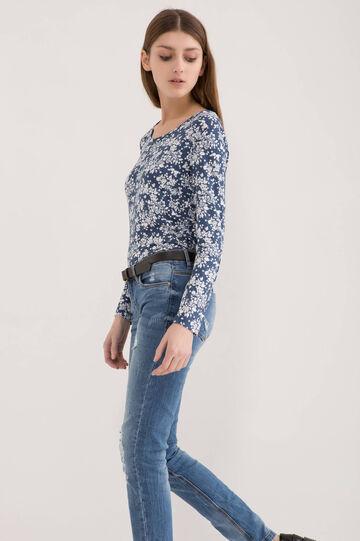 Floral T-shirt in stretch viscose, White/Blue, hi-res