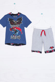 Cotton outfit with superhero print, Blue/Grey, hi-res