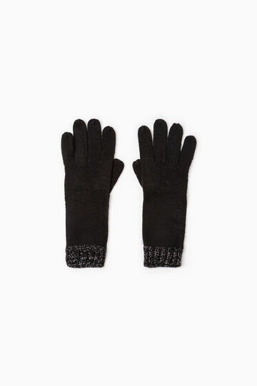 Long knit gloves with ribbing, Black, hi-res