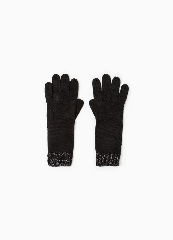 Long knit gloves with ribbing   OVS