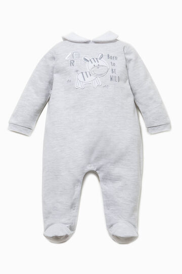 Embroidered onesie with feet, White/Grey, hi-res