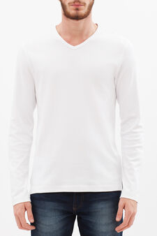 100% cotton T-shirt with long sleeves, White, hi-res