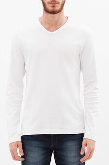 T-shirt puro cotone maniche lunghe, Bianco, hi-res