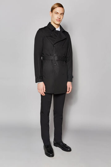 Trench coat with asymmetrical opening, Black, hi-res