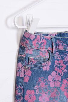 Floral patterned denim shorts, Blue/Pink, hi-res