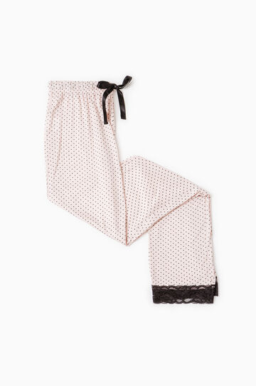 Polka dot pyjama trousers in lace, Light Pink, hi-res