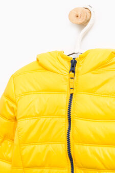 Solid colour down jacket with hood, Blue/Yellow, hi-res