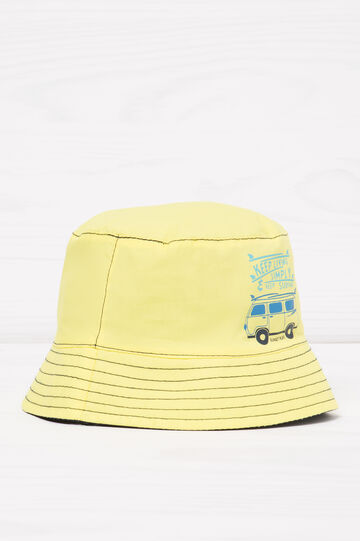 Fishing hat with print, Yellow, hi-res