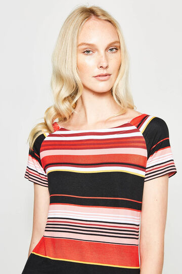 Stretch viscose T-shirt with stripes