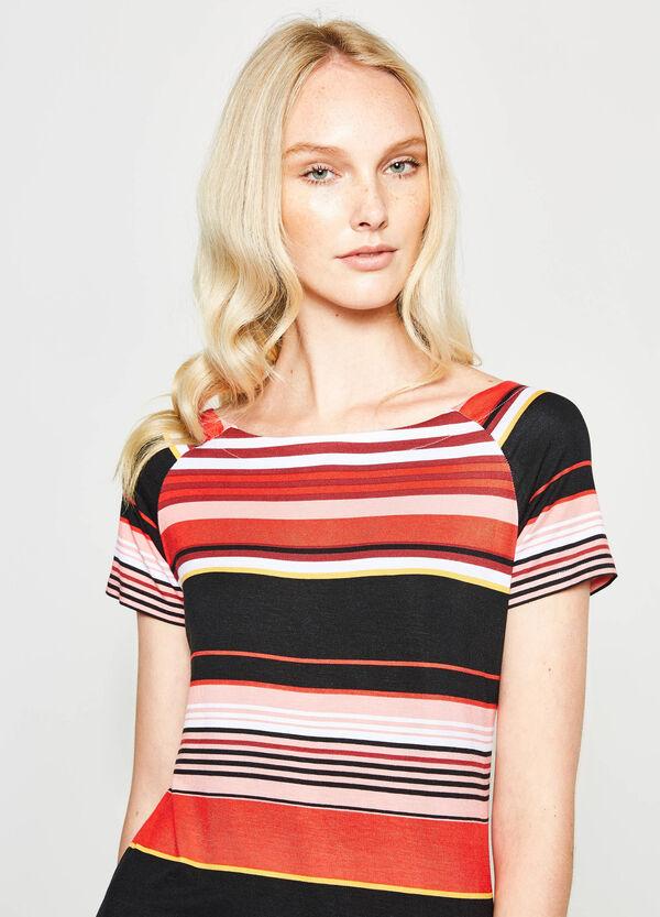 Stretch viscose T-shirt with stripes | OVS