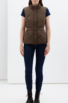 Sleeveless puffa jacket, Mud Brown, hi-res