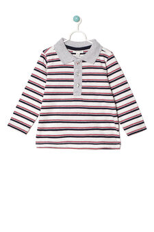 100% cotton striped polo shirt, White/Red, hi-res