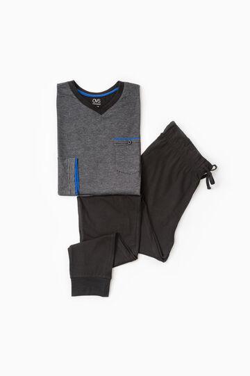 Cotton pyjamas with micro stripes, Black, hi-res