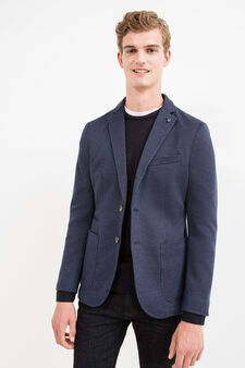Stretch cotton blend jacket with two-button fastening, Blue, hi-res