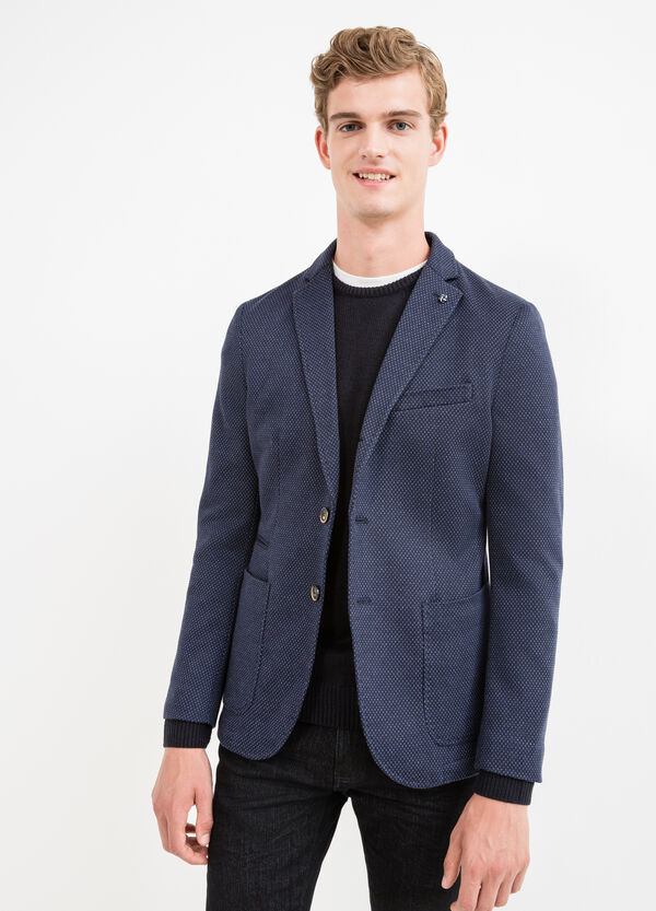 Stretch cotton blend jacket with two-button fastening | OVS
