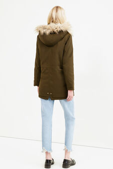 Solid colour parka with hood, Green, hi-res