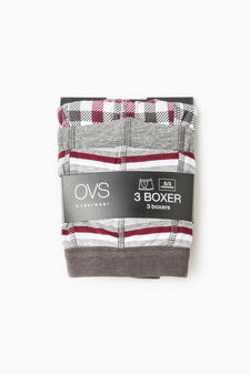 Three-pack solid colour and patterned boxer shorts, Grey, hi-res