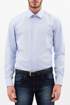 Slim fit plumetis shirt, Light Blue, hi-res