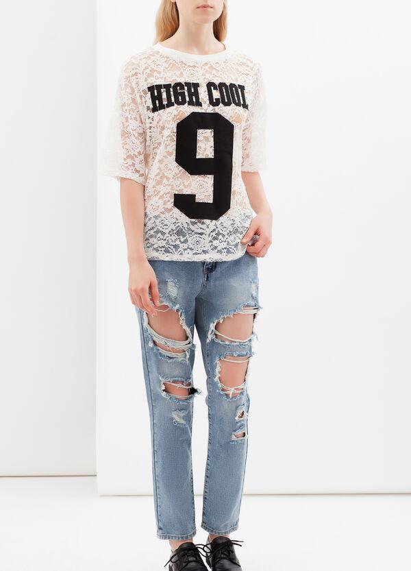 Semi-sheer printed T-shirt | OVS