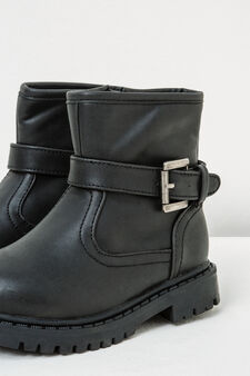 Ankle boots with thick tread sole and buckle, Black, hi-res