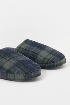 Tartan patterned canvas slippers, Blue/Green, hi-res