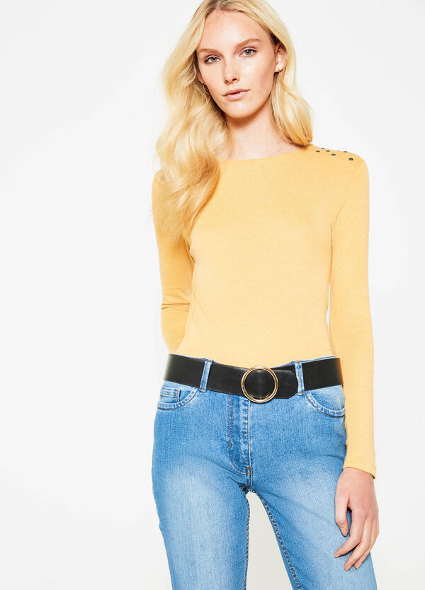 100% cotton T-shirt with studs | OVS