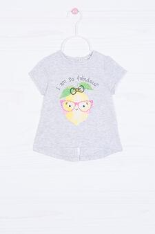 T-shirt cotone con stampa e strass, Grigio chiaro, hi-res
