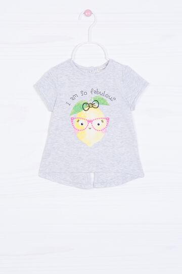Printed diamanté T-shirt in cotton., Light Grey, hi-res