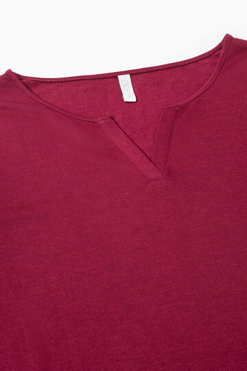 Solid colour viscose pyjama top, Dark Red, hi-res