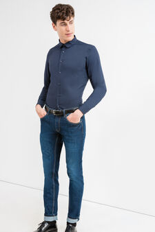 Slim-fit casual shirt with bluff collar, Blue, hi-res