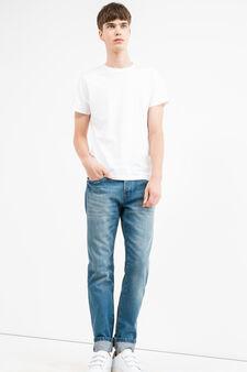 Jeans straight fit con scoloriture, Lavaggio medio, hi-res