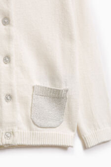 Knitted cardigan with two pockets, Milky White, hi-res