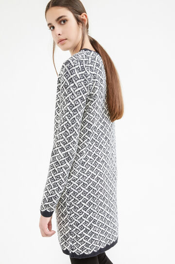 Long cardigan with geometric pattern, Navy Blue, hi-res