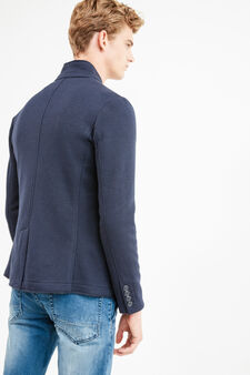 Wool-viscose blend jacket with two buttons, Blue, hi-res