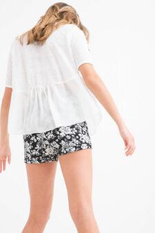 Shorts pura viscosa floreali Teen, Nero, hi-res