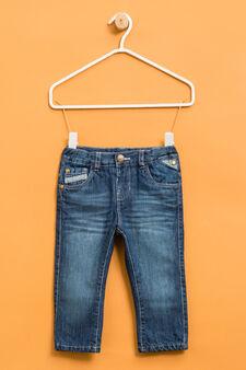 Jeans effetto used con baffature, Denim, hi-res
