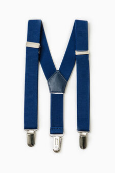 Solid colour stretch braces, Royal Blue, hi-res