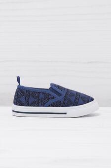 Geometric patterned slip-ons, Blue, hi-res