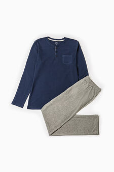 Cotton blend pyjamas with small pocket, Blue/Grey, hi-res