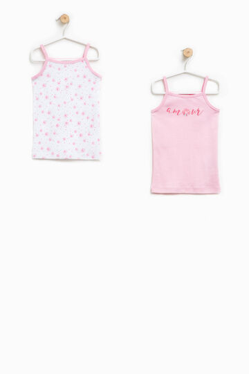 Two-pair pack solid colour and floral patterned under tops, White/Pink, hi-res