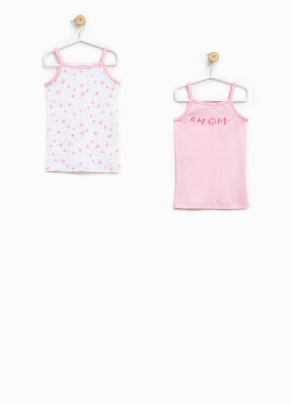 Two-pair pack solid colour and floral patterned under tops | OVS