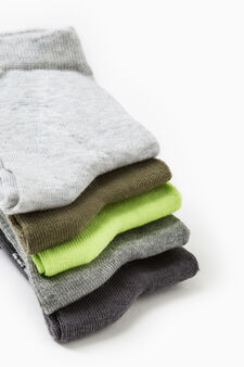 Five-pair pack solid stretch socks, Green, hi-res