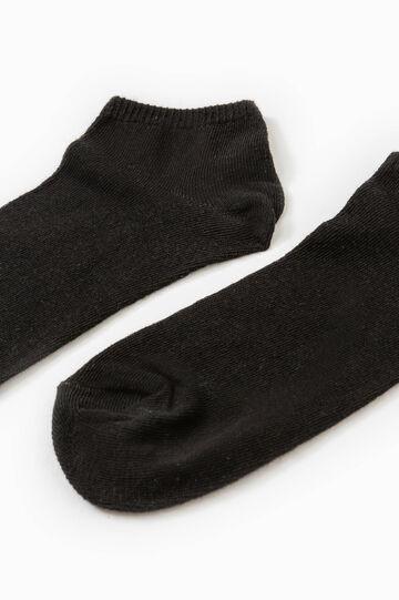 Set due paia di calze cotone tinta unita, Nero, hi-res