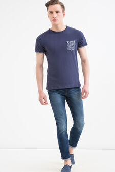 Floral pattern cotton T-shirt, Blue, hi-res