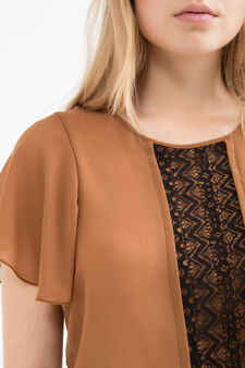 Blouse with openwork insert, Multicolour, hi-res