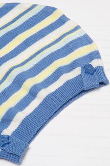 Striped cotton beanie cap, Blue/Yellow, hi-res