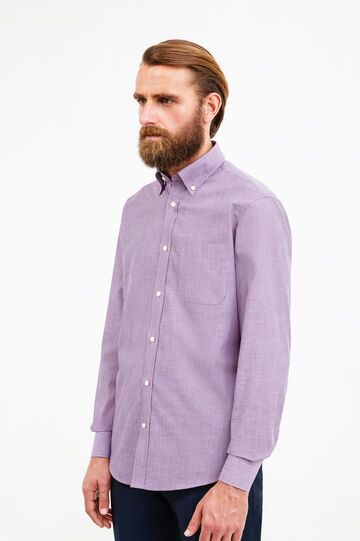 Regular-fit striped formal shirt, Purple, hi-res