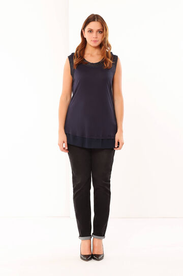 T-shirt Curvy in viscosa, Blu navy, hi-res