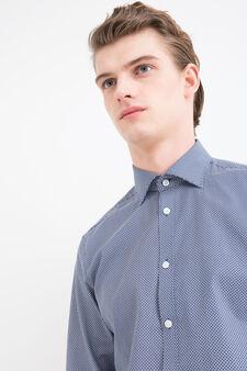 Slim fit patterned cotton shirt, Blue, hi-res